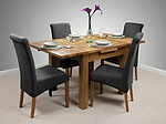 3ft x 3ft Rustic Solid Oak Extending Dining Set + 4 Charcoal Fabric Scroll Back Chairs