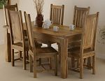 Baku Light Mango 5ft 6&#34; x 2ft 9&#34; Dining Table + 6 Light Mango Chairs