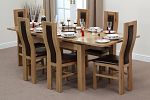 "4ft 7"" x 3ft Solid Oak Extending Dining Table + 6 Brown Curve Back Chairs"