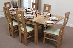 4ft 7&#34; x 3ft Solid Oak Extending Dining Table + 6 Cream Wave Back Chairs