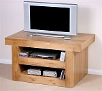 Nero Solid Oak TV + DVD Stand