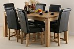 "Galway 6ft x 2ft 8"" Solid Oak Dining Table + 6 Black Braced Scroll Back Leather Chairs"