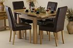 Solid Oak Extending Dining Table 3ft x 3ft + 4 Stitched Brown Leather Chairs (Seats Up 6 People)