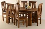 Tokyo Brown Teak Mango 6ft x 3ft Dining Table + 6 Tokyo Brown Chairs