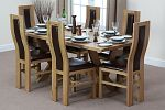 6ft x 3ft Solid Oak Crossed Leg Dining Table + 6 Curved Back Brown Leather Chairs