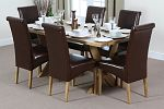 6ft x 3ft Solid Oak Crossed Leg Dining Table + 6 Scroll Back Brown Leather Chairs
