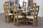 6ft x 3ft Solid Oak Crossed Leg Dining Table + 6 Wave Back Cream Leather Chairs