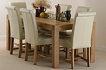 Alto Solid Oak 6ft x 3ft Dining Table + 6 Cream Braced Scroll back chairs