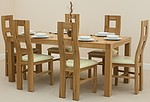 Alto Solid Oak 6ft x 3ft Dining Set + 6 Cream Wave Back Chairs