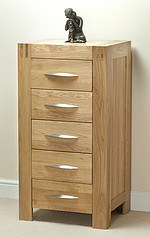 Alto Solid Oak 5 Drawer Tall Chest
