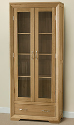 Bevel Solid Oak Glazed Display Cabinet