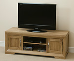 Bevel Solid Oak Widescreen TV + DVD Cabinet