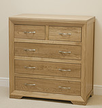 Bevel Solid Oak 5 Drawer Chest