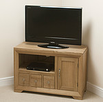 Bevel Solid Oak Small Corner TV Cabinet