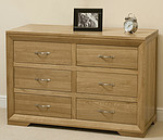 Bevel Solid Oak 6 Drawer Chest