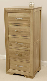 Bevel Solid Oak Tall 5 Drawer Chest