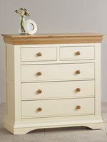 Country Cottage Natural Oak and Painted 3+2 Chest of Drawers