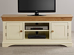 Country Cottage Natural Oak and Painted Widescreen TV Cabinet
