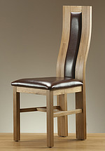 Curved Back Solid Oak and Brown Leather Dining Chair