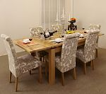 4ft 7&#34; Extending Dining Table + 6 Champagne Fabric Dining Chairs
