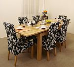4ft 7&#34; Extending Dining Table + 6 Black Fabric Dining Chairs