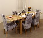 4ft 7&#34; Extending Dining Table + 6 Grey Fabric Dining Chairs