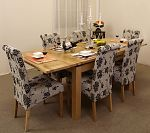 4ft 7&#34; Extending Dining Table + 6 Floral Fabric Dining Chairs
