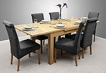 "4ft 7"" x 3ft Solid Oak Extending Dining Table + 6 Charcoal Fabric Scroll Back Chairs"
