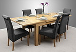 4ft 7&#34; x 3ft Solid Oak Extending Dining Table + 6 Charcoal Fabric Scroll Back Chairs