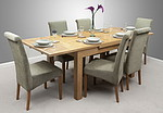 "4ft 7"" x 3ft Solid Oak Extending Dining Table + 6 Sage Fabric Scroll Back Chairs"