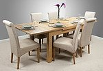 "4ft 7"" x 3ft Solid Oak Extending Dining Table + 6 Beige Fabric Scroll Back Chairs"