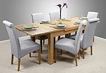 "4ft 7"" x 3ft Solid Oak Extending Dining Table + 6 Light Grey Fabric Scroll Back Chairs"