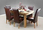 "4ft 7"" x 3ft Solid Oak Extending Dining Table + 6 Brown Leather Scroll Back Chairs"