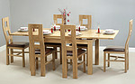 4ft 7&#34; x 3ft Solid Oak Extending Dining Table + 6 Brown Wave Back Chairs