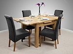 3ft x 3ft Solid Oak Extending Dining Set + 4 Charcoal Fabric Chairs (Seats Up To 6 People Extended)