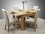 3ft x 3ft Solid Oak Extending Dining Set + 4 Beige Fabric Chairs (Seats Up To 6 People Extended)