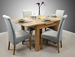 3ft x 3ft Solid Oak Extending Dining Set + 4 Light Grey Fabric Chairs