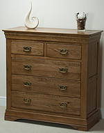 French Farmhouse Rustic Solid Oak 3+2 Chest of Drawers