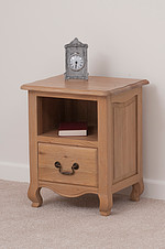 Grace Solid Washed Oak 1 Drawer Bedside Cabinet