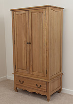Grace Solid Washed Oak Double Wardrobe