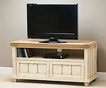 Shabby Chic Solid Mango TV + DVD Cabinet with Drop-Down Door