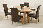 5ft 3&#34; Solid Oak Round Extending Dining Table + 4 Brown Scroll Back Leather Chairs