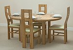 5ft 3&#34; Solid Oak Round Extending Dining Table + 4 Cream Wave Back Leather Chairs