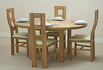 "5ft 3"" Solid Oak Round Extending Dining Table + 4 Cream Wave Back Leather Chairs"