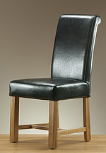 Braced Scroll back Leather Dining Chair with Oak Legs (Black)