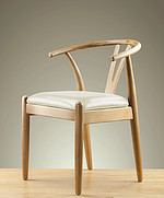 Round Solid Oak and Leather Dining Chair (Cream)
