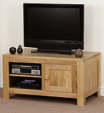 Nero Solid Oak Widescreen TV + DVD Cabinet