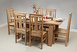6ft x 3ft Tokyo Solid Oak Dining Table + 6 Solid Oak Chairs