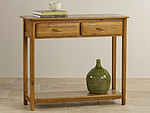 Osaka Rustic Solid Oak 2 Drawer Console Table