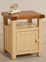 Phoenix Shabby Chic Rustic Oak and Painted 1 Door Bedside Cabinet